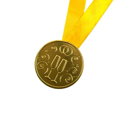 """Шоколадная медаль на ленте """"Свадебная"""" ( лента жёлтая )"""