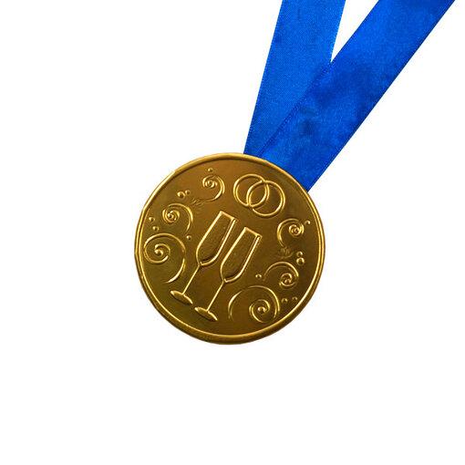 """Шоколадная медаль на ленте """"Свадебная"""" ( лента синяя )"""