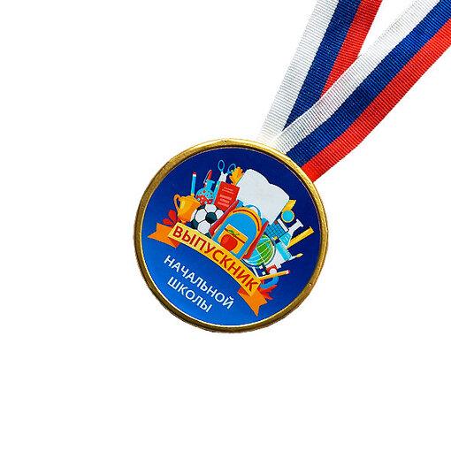 Шоколадная медаль на ленте Выпускник начальной школы ( лента триколор )