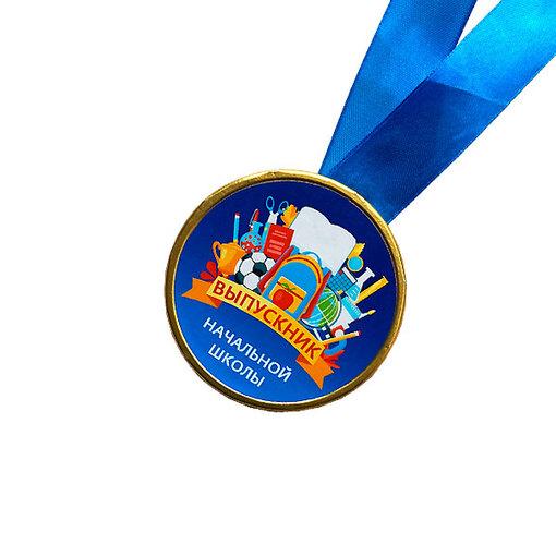 Шоколадная медаль на ленте Выпускник начальной школы ( лента синяя )