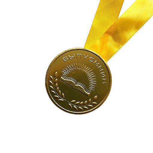 Шоколадная медаль на ленте выпускнику ( лента желтая )