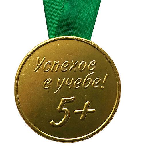 """Шоколадная медаль на ленте """"Успехов в учёбе"""" ( лента зелёная )"""