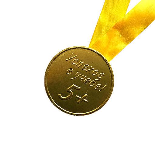 """Шоколадная медаль на ленте """"Успехов в учёбе"""" ( лента жёлтая )"""