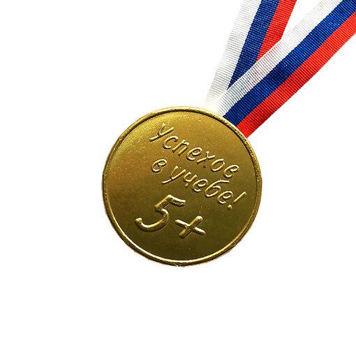 """Шоколадная медаль на ленте """"Успехов в учёбе"""" ( лента триколор )"""