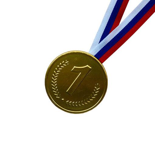 Шоколадная медаль на ленте первое место ( лента триколор )