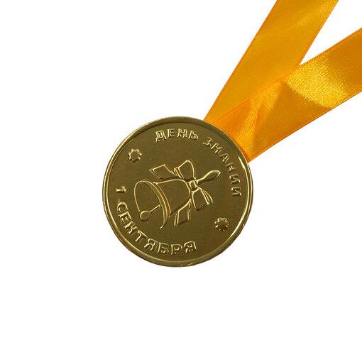 Шоколадная медаль на ленте 1 сентября ( лента желтая )