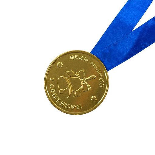 Шоколадная медаль на ленте 1 сентября ( лента синяя )