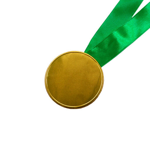 Шоколадные медали на ленте ( без изображения, лента зелёная )