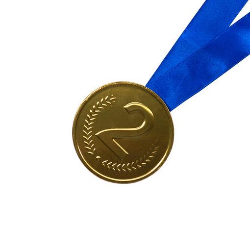 Шоколадная медаль на ленте второе место ( лента синяя )