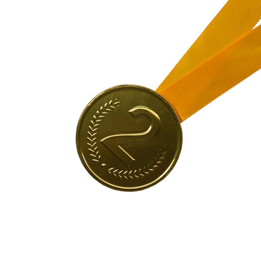 Шоколадная медаль на ленте второе место ( лента желтая )