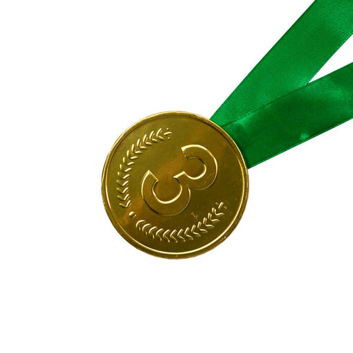 Шоколадная медаль на ленте третье место ( лента зелёная )