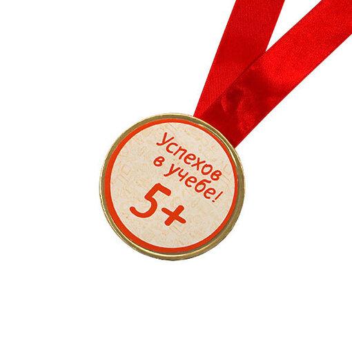 Шоколадная медаль на ленте +5 ( наклейка, лента красная )